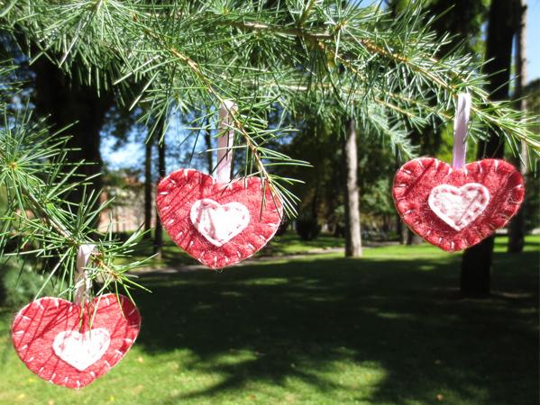 decorazioni natalizie, cuori, feltro, felt, fatto a mano, handmade