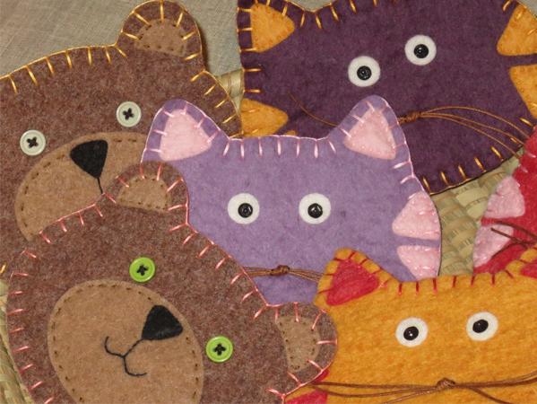 pochette, gatti, orsetto, handmade, fatto a mano, feltro, felt