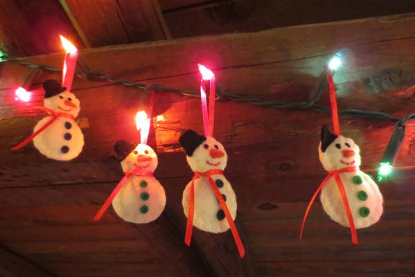 decorazioni natalizie, pupazzi di neve, feltro, fatto a mano, handmade