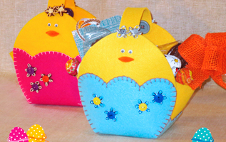 cestini pasquali; feltro; fatto a mano; Easter baskets; felt; handmade; cri graphics